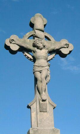 christian cross on blue sky