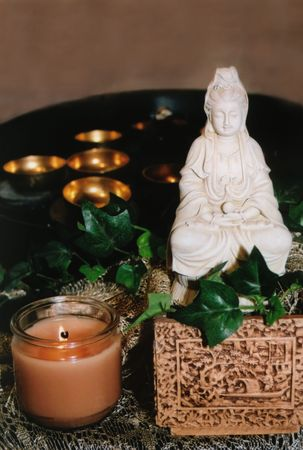 chimes: Quan Yin with Chimes Stock Photo