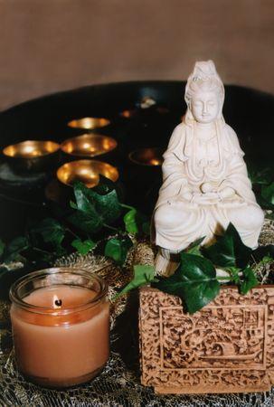 quan yin: Quan Yin with Chimes Stock Photo