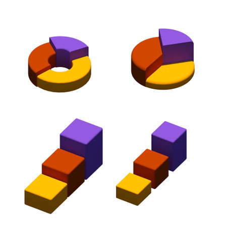 Isometric Pie-graph and bar graphs on isolated white background. Low Poly 3D illlustration