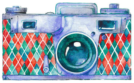 Retro Camera Kiev watercolor design