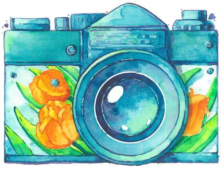 Retro camera tulip design watercolor