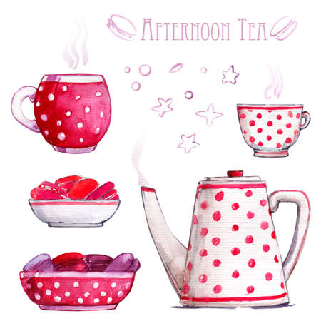 Tea tableware cups macaron watercolor pink