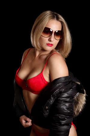 beautiful girl in red underwear Stock Photo