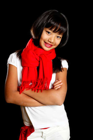 happy girl in a red scarf Stock Photo