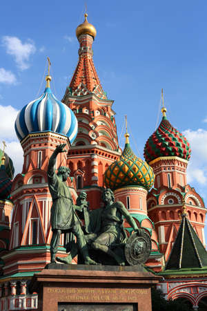 Minin and Pozharsky on the background of St. Basil's Cathedral Stock Photo - 10678099
