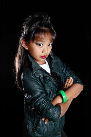 girl - the rocker in leather jackets and a crest on its head