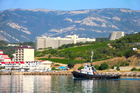 The yacht, the mountains and the sea  The Crimean landscape  Yalta, Ukraine