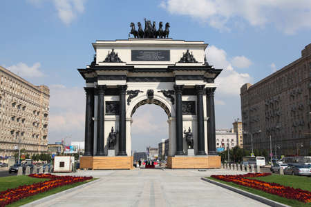 Triumphal Arch in Moscow, built in honor of the victory of the Russian people in the war of 1812  Kutuzov Avenue in Moscow  Stock Photo - 15108098