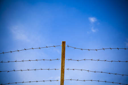arrestment: Metal barbed wire on a background of blue sky  Stock Photo