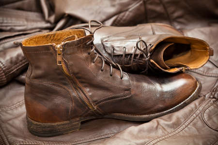 Men s leather fashion shoes photo