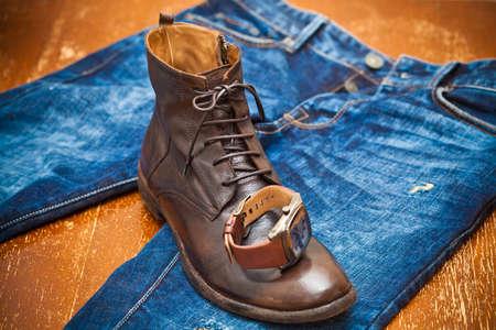 Men s watches, leather shoes, jeans,  vintage style,  men s fashion set