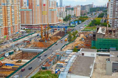 Bau der U-Bahn-Linie Lizenzfreie Bilder