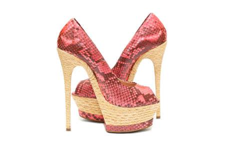Frauen Schuhe rosa High Heels auf einem wei�en Hintergrund Lizenzfreie Bilder