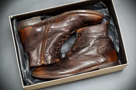 New fashionable leather shoes. Gift box with a shoe