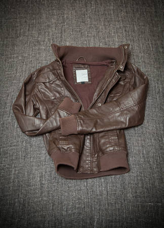 Fashionable leather jacket brown