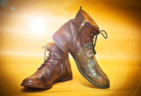 Fashionable men leather shoes in vintage style Stock Photo