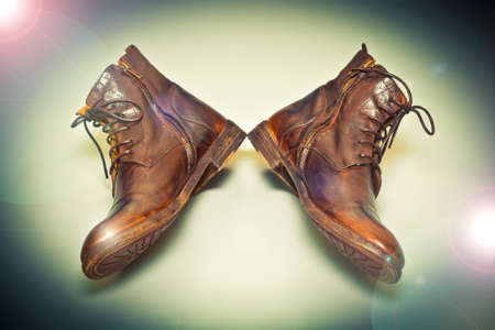 Fashion leather shoes brown vintage style Stock Photo
