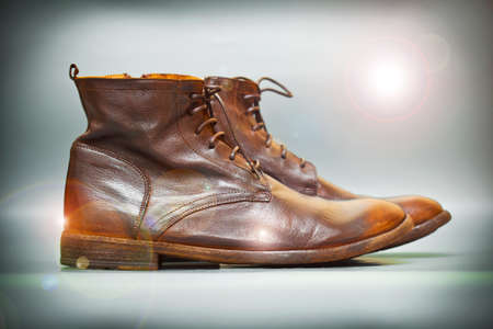 Costly autumn and spring leather shoes brown vintage style Stock Photo