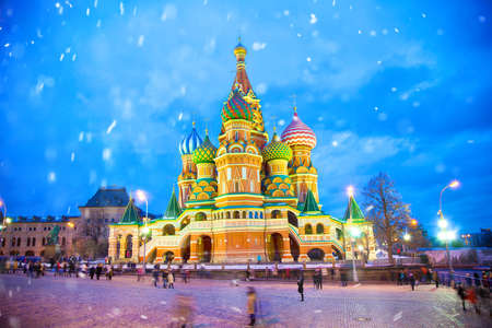 snow falls: Basils Cathedral in Moscow, Russia. Winter, snow falls