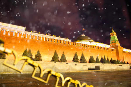 Moscow Kremlin on Red Square, Russia. snow falls