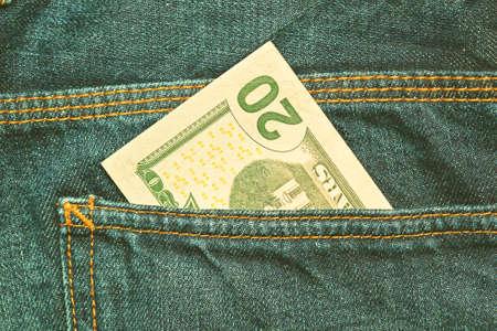 US dollars. 20 bill in the pocket