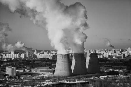 smokestacks: Energy. Smoke from chimney of power plant or station. Industrial landscape. Stock Photo