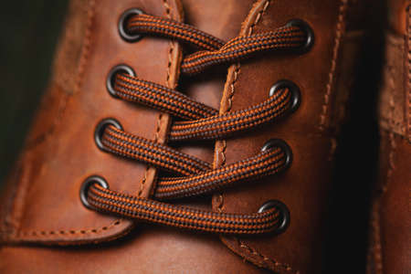 laces on leather shoes closeup Stock Photo