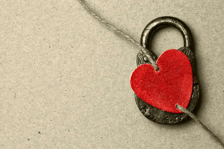 Red decorative heart. Free space for a heartfelt message.
