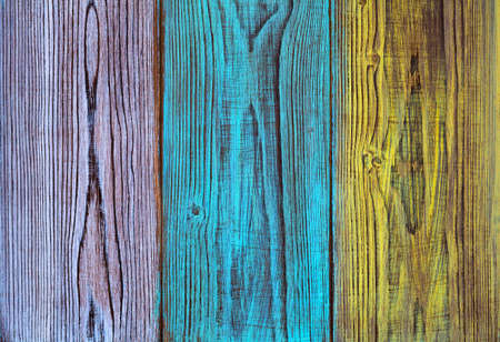 The texture of the wood. Vintage wooden background with colorful boards Stock Photo