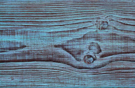 Beautiful aged wood texture with blue paint. Wooden background. Stock Photo
