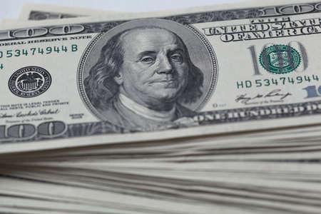 A hundred dollar bill. Franklin portrait closeup