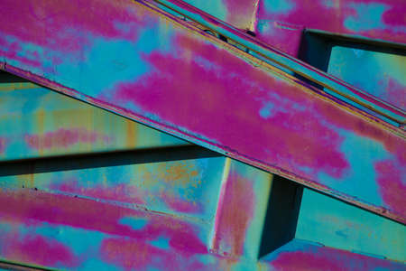 Texture colored metal. Abstract background, abstract lines, paint the purple and turquoise colors