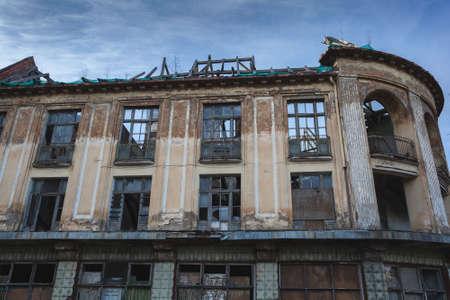 Ancient historical destructible building. Old architecture, broken glass Stock Photo