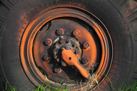 the wheel with rubber tires from the old truck