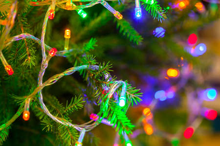 The glowing lanterns on the branches of the Christmas tree. Festive background