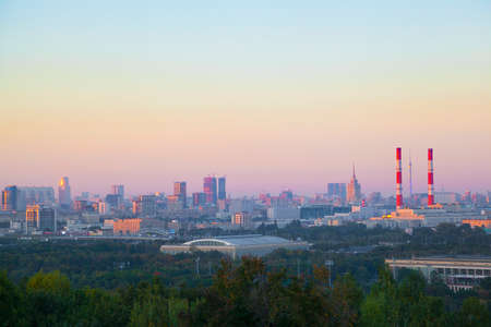 View of Moscow at sunset. the urban landscape