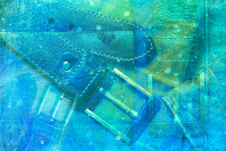 Abstract bright blue background color. Double exposure, waist belt with buckle. Stock Photo