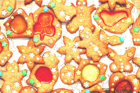 set of christmas gingerbread sweet cookies in the form of holiday symbols stock photo - Christmas Gingerbread