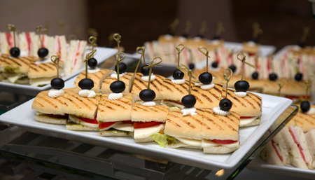 Canape or sandwiches with toasted baguette Banco de Imagens