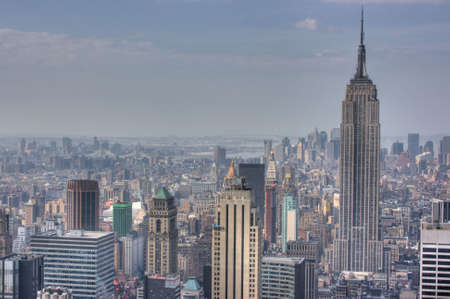 Manhattan Skyline from atop 30 Rockefeller center, New York City, NY, during a gloomy day