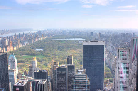 View of Central Park from atop 30 Rockefeller Center, New York City, NY Stock Photo
