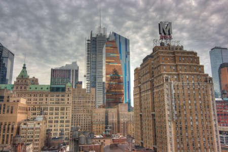 HDR view of Skyscrapers in downtown New York City with ominous weather