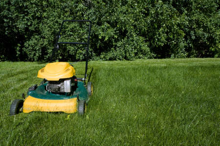Lawnmower, cutting green grass close-up with space for copy
