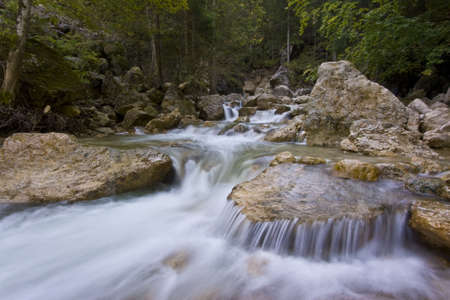 Mountain river with water flowing over rocks