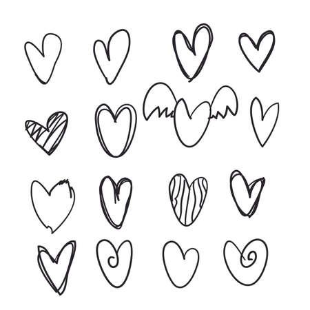 웹 사이트, 포스터, 현수막, 벽지 및 발렌타인 데이를 위한 손으로 그린 낙서 하트 아이콘 모음 세트.