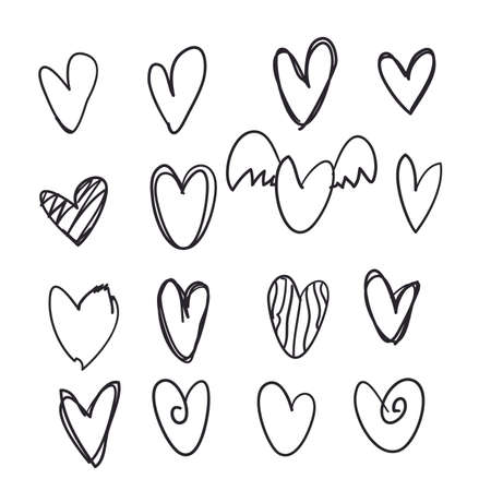 set hand getrokken doodle hart icoon collectie voor website, poster, plakkaat, behang en Valentijnsdag.