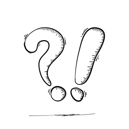 doodle question mark and exclamation point handdrawn style