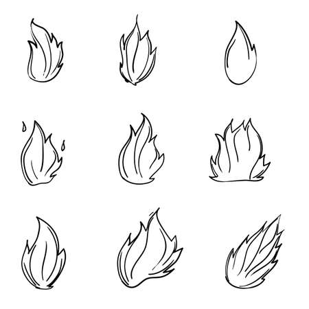 hand drawn fire flame icon in doodle cartoon style