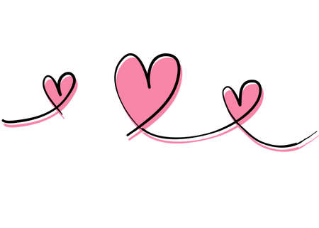 linked love with thin line handdrawn doodle style illustration